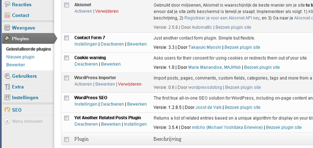 Wordpress plugin installeren Cookie warning
